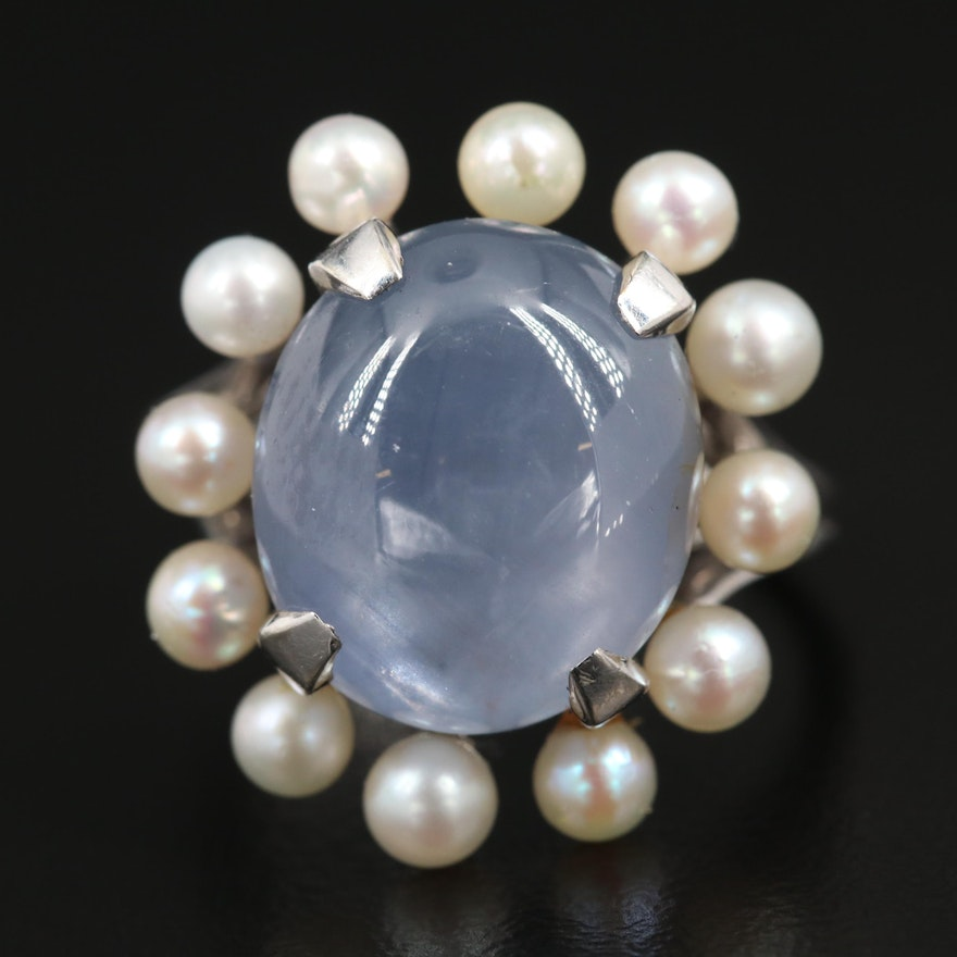 14K Gold 13.86 CT Star Sapphire and Pearl Ring
