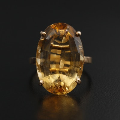 14K Gold 15.90 CT Citrine Ring