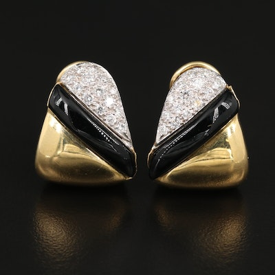 18K Diamond and Black Onyx Earrings