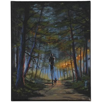 "Douglas ""Bumo"" Johnpeer Oil Painting ""A Longwalk"""