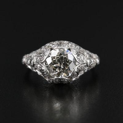 1930s Platinum 1.70 CTW Diamond Ring