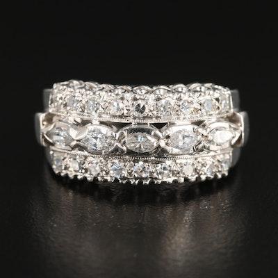 Platinum 0.65 CTW Diamond Ring