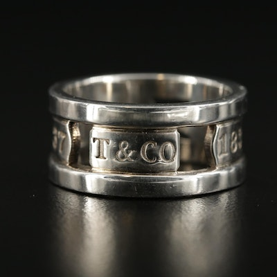 """Tiffany & Co """"1837"""" Sterling Silver Openwork Band"""
