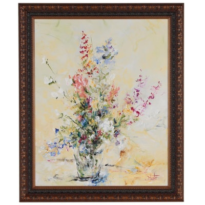 Schuster Abstract Floral Oil Painting