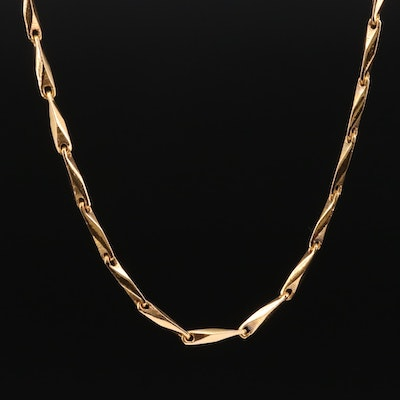 14K Yellow Gold Fancy Link Chain Necklace