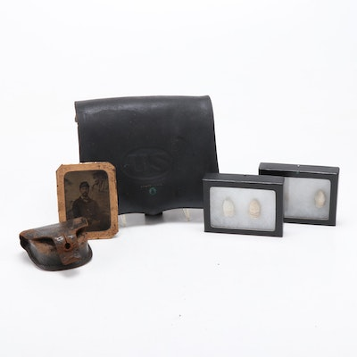 Civil War Cartridge Box, Cap Pouch, Three-Ring Bullets and Union Soldier Tintype