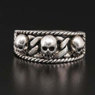 Sterling Silver Triple Skull Ring