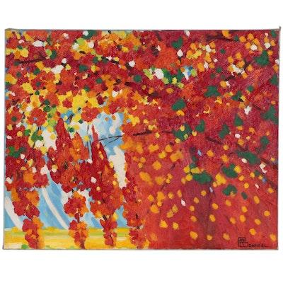 """Raymond Bonneel Abstract Oil Painting """"Herfst in Vlaanderen"""", 1992"""