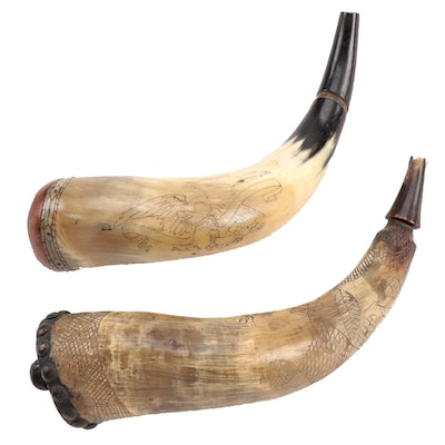 "Scrimshaw Muzzleloading Powder Horns, One ""New England Style,"" Mid-20th Century"