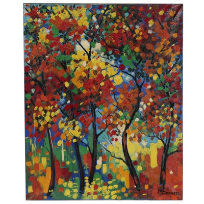 "Raymond Bonneel Abstract Oil Painting ""Herfst in Vlaanderen"", 1964"