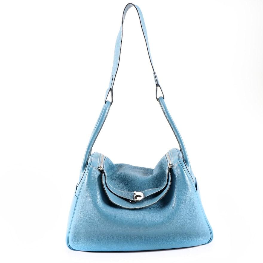 Hermès Lindy Shoulder Bag in Blue Clemence Leather