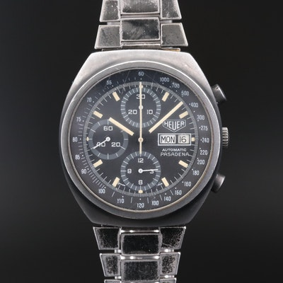 Heuer Pasadena Day - Date Stainless Steel and Black PVD Chronograph Wristwatch