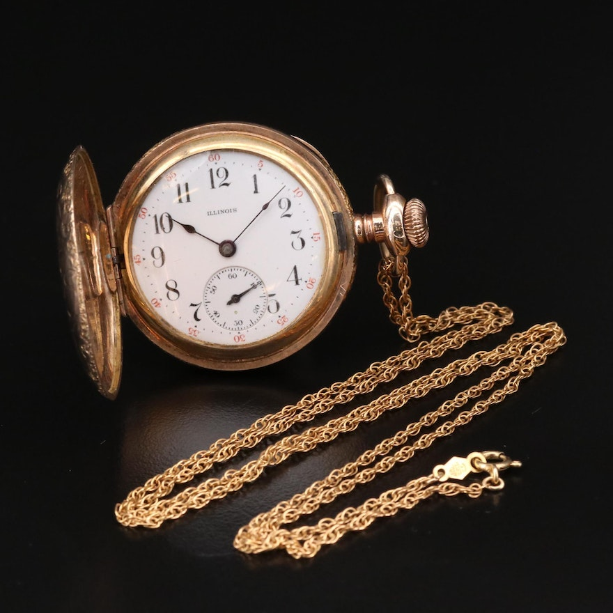 Illinois Gold Filled Hunting Case Pocket Watch with Gold Filled Fob Chain, 1913