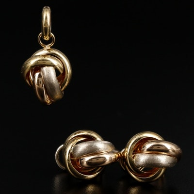 Italian 18K Knotted Pendant and Earrings Set