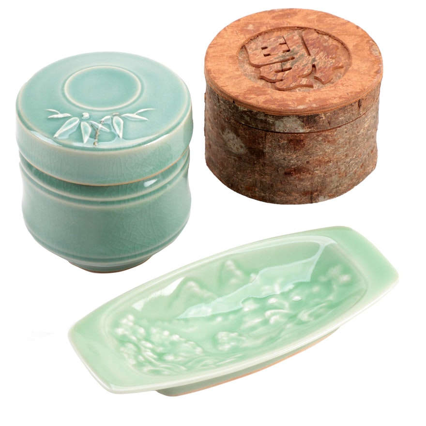 Japanese Celadon Pin Dish with Wooden Box and Other Container