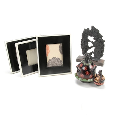 Abstract Sculpture, Mother with Child and Floral Motif Frames