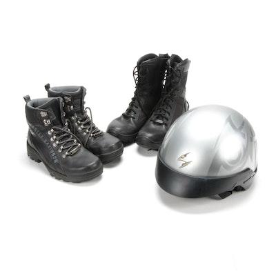 Men's Harley-Davidson Combat Boots, Motorcycle Cover and Helmet