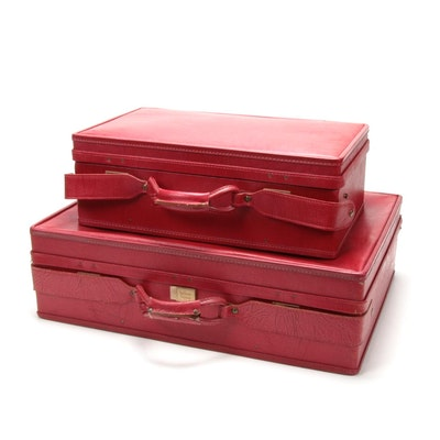 Hartmann Red Leather Suitcases, Mid-20th Century