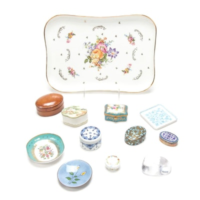 Simon Pearce Glass Heart, Enamel Dishes, Cloisonné Box and More