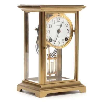 Ansonia Clock Co. Glass Cased Brass Mantel Clock