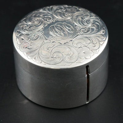 R. Blackinton & Co. Engraved Sterling Silver Stamp Box, Vintage