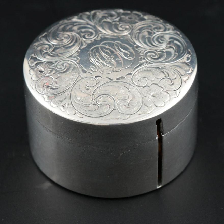 R. Blackinton & Co. Engraved Sterling Silver Stamp Box, Vintage