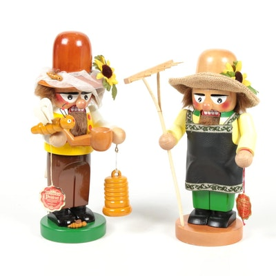 "Steinbach Handmade ""Beekeeper"" and ""Gardener"" Nutcrackers"