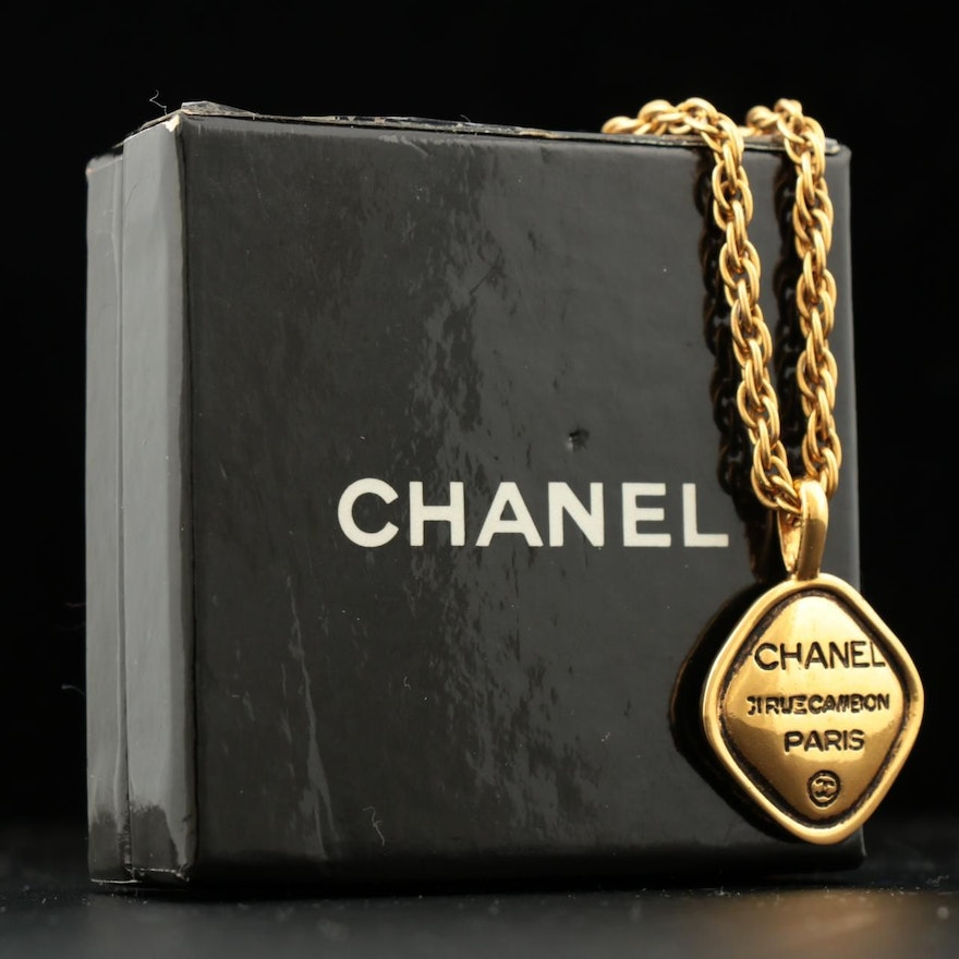 Chanel Gold Tone Rope Chain Pendant Necklace