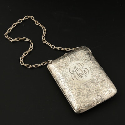 R. Blackinton & Co. Sterling Silver Compact Wristlet with Scrolls, Vintage