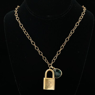 Louis Vuitton Brass Lock on Gold-Tone Chain with Pendant