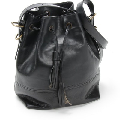 Bosca Black Leather Drawstring Shoulder Bag with Tassels