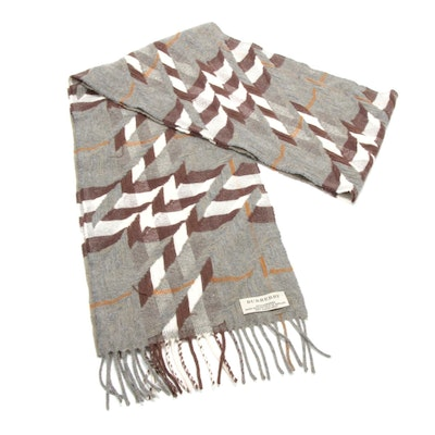 "Burberry Cashmere ""Abstract Signature Check"" Fringed Scarf"