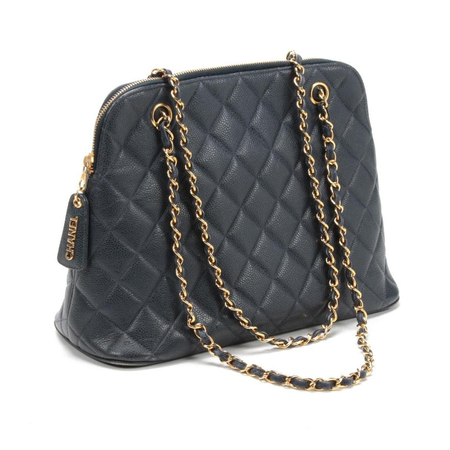 Chanel Navy Quilted Caviar Leather Domed Shoulder Bag