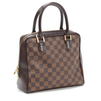 Louis Vuitton Brera Tote Bag in Damier Ebene Coated Canvas and Leather