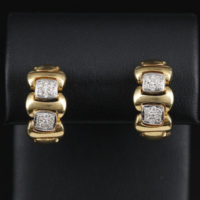 18K and 14K Yellow Gold Diamond Earrings
