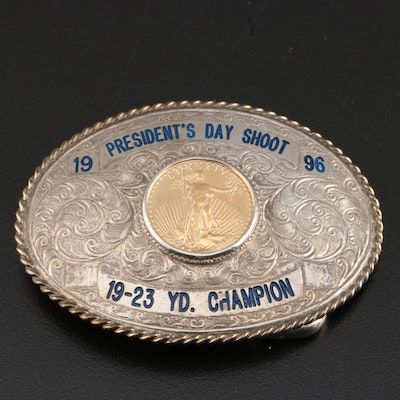 Sterling Silver Belt Buckle with 1995 American Eagle Gold Bullion Coin