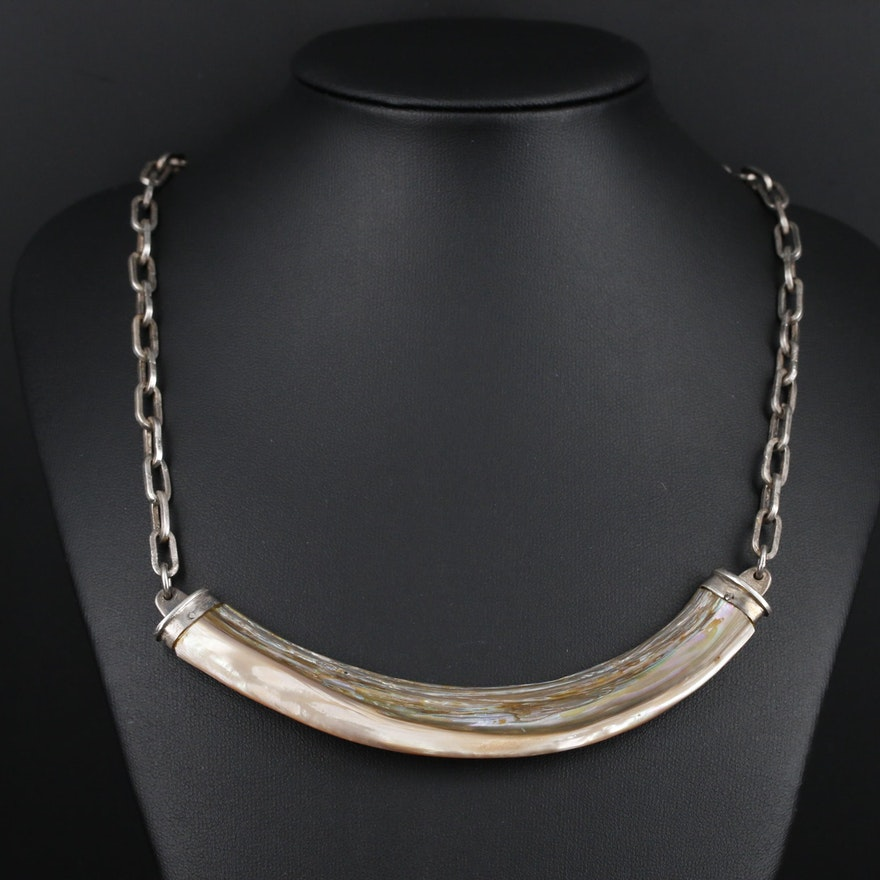 Sterling Silver Abalone Pendant on Cable Chain Necklace