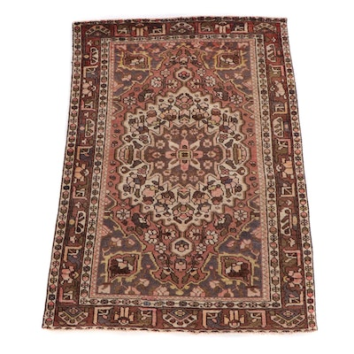 4'8 x 6'11 Hand-Knotted Persian Heriz Wool Rug