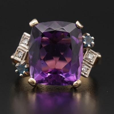 18K Gold 8.75 CT Amethyst, Diamond and Blue Topaz Ring