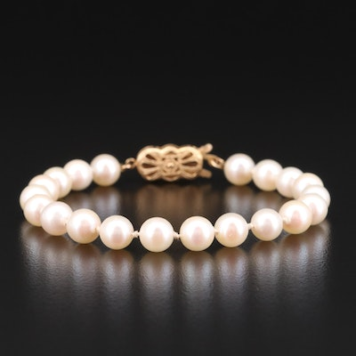 Knotted Pearl Bracelet with 14K Yellow Gold Clasp