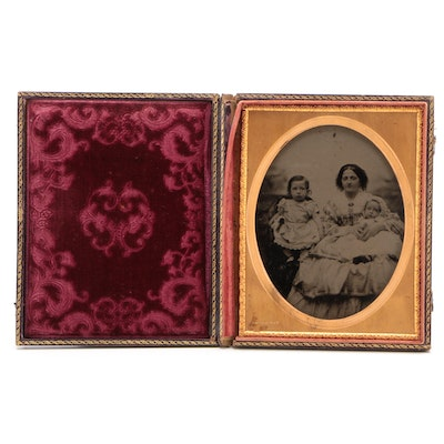 Half-Plate Daguerreotype of Woman and her Children, Mid-19th Century