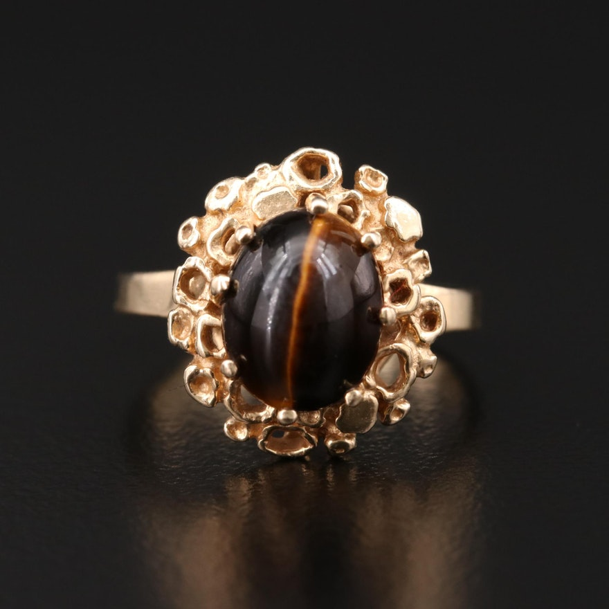 14K Gold Tiger's Eye Ring