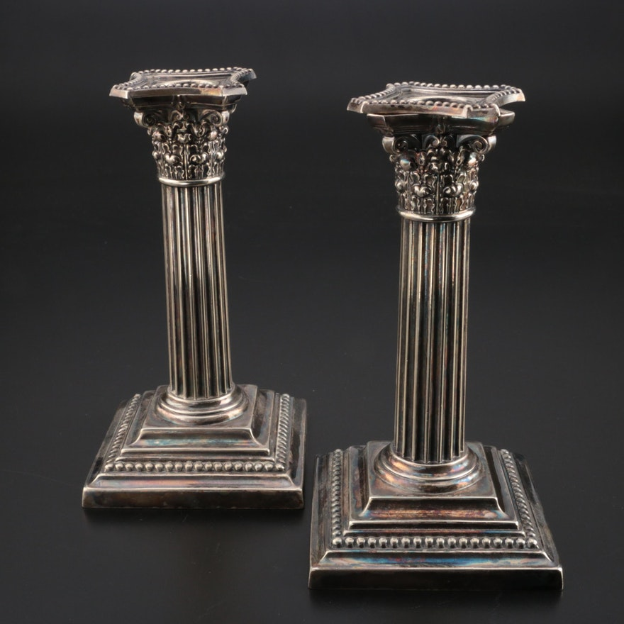 Gorham Silver Plate Columnar Candlesticks, 1904