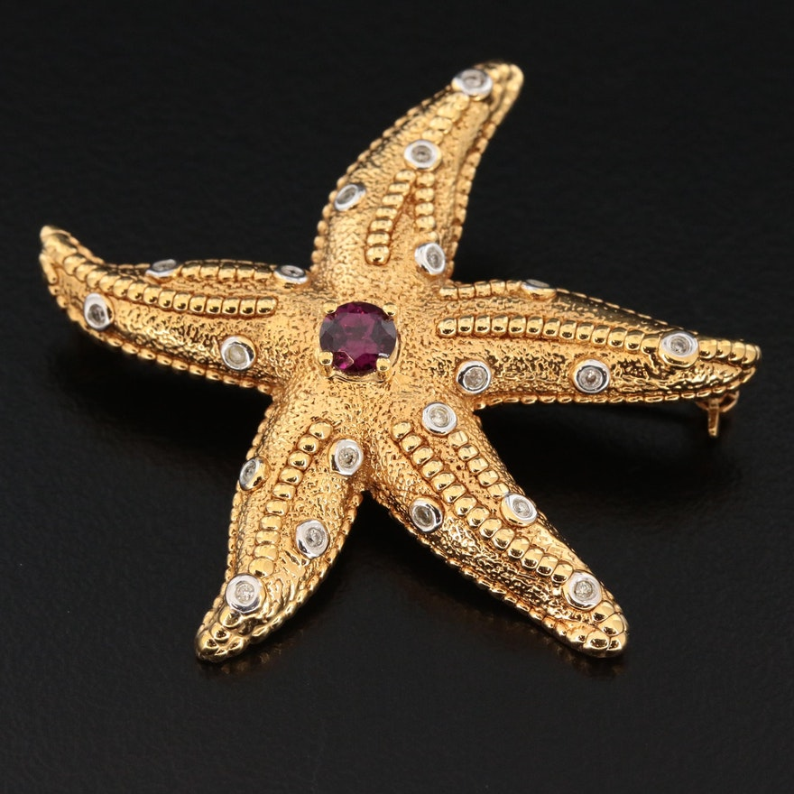14K Yellow Gold Garnet and Diamond Starfish Brooch