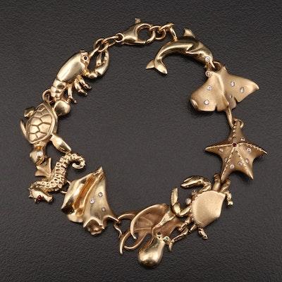 14K Gold Diamond, Ruby and Emerald Ocean Motif Bracelet