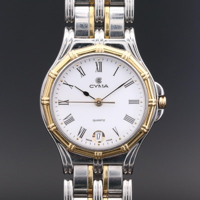 Cyma Stainless Steel and 18K Gold Swiss Quartz Wristwatch