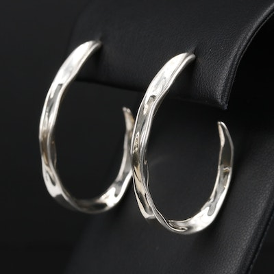 Sterling Silver J Hoop Earrings
