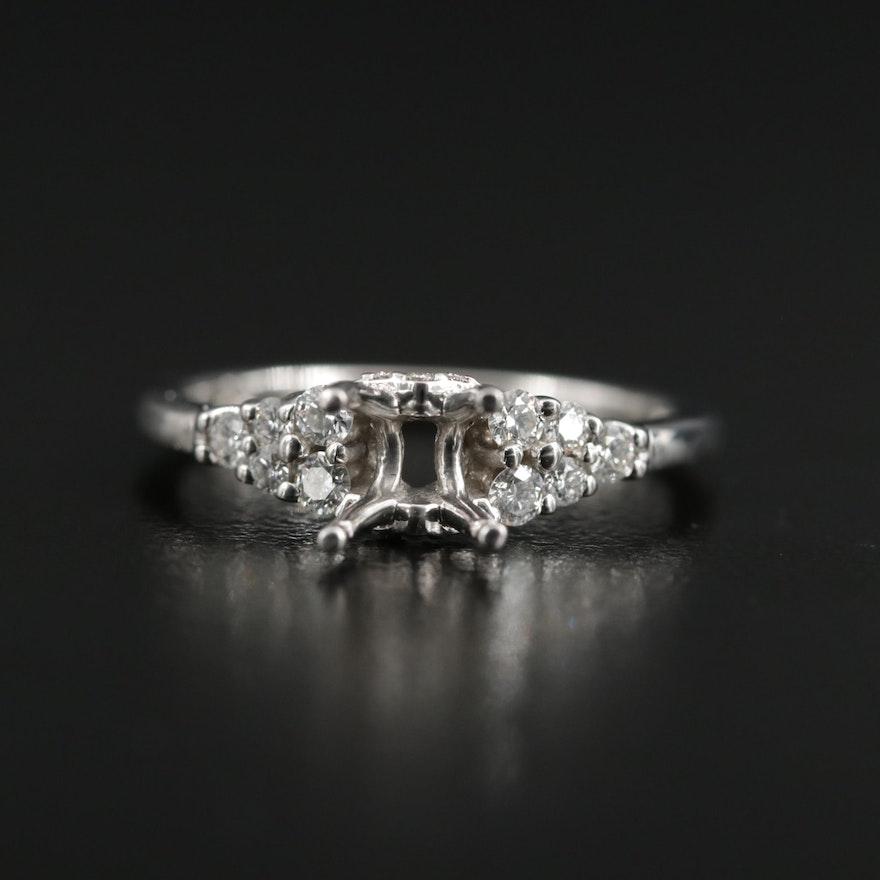 18K Gold Diamond Semi-Mount Ring