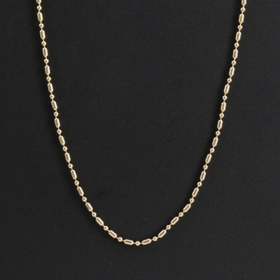 14K Yellow Gold Ball Chain Necklace