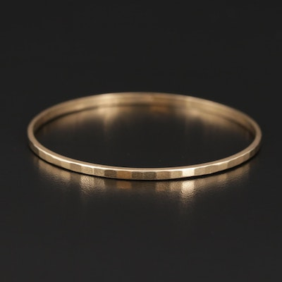 18K Yellow Gold Hammered Texture Bangle Bracelet
